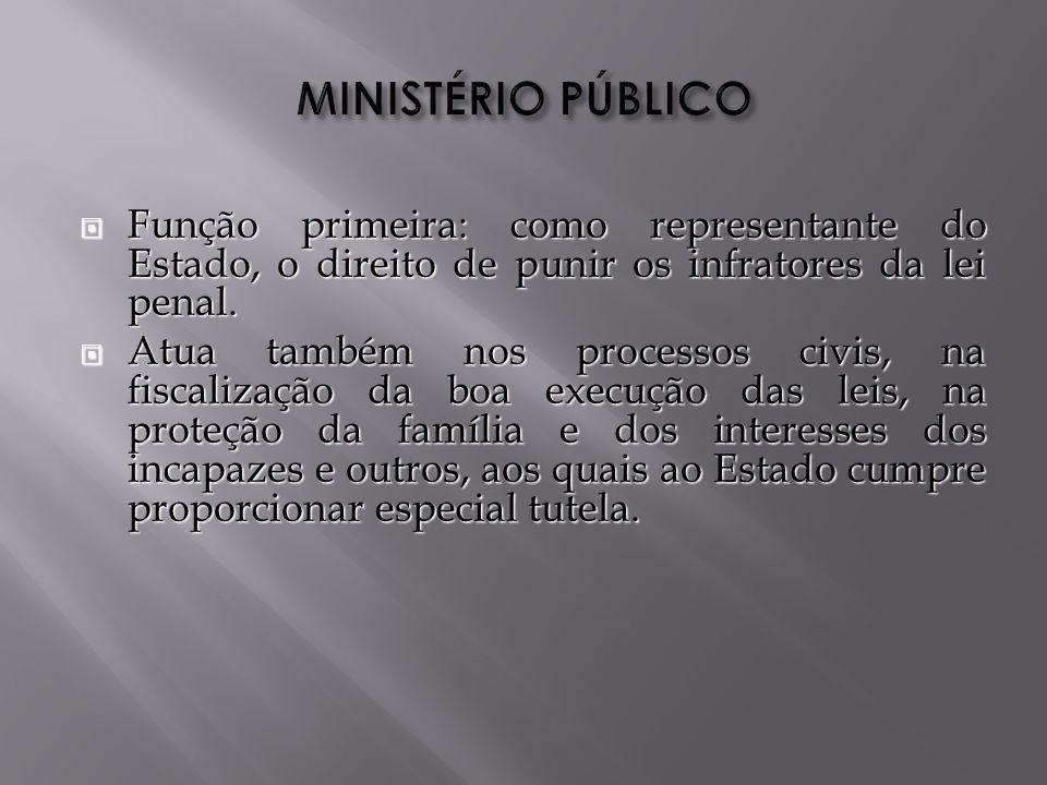 MINISTÉRIO PÚBLICO Função primeira: como representante do Estado, o direito de punir os infratores da lei penal.