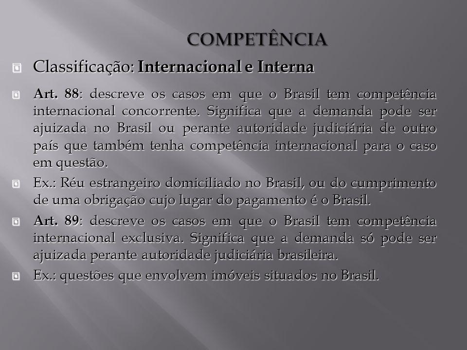 COMPETÊNCIA Classificação: Internacional e Interna