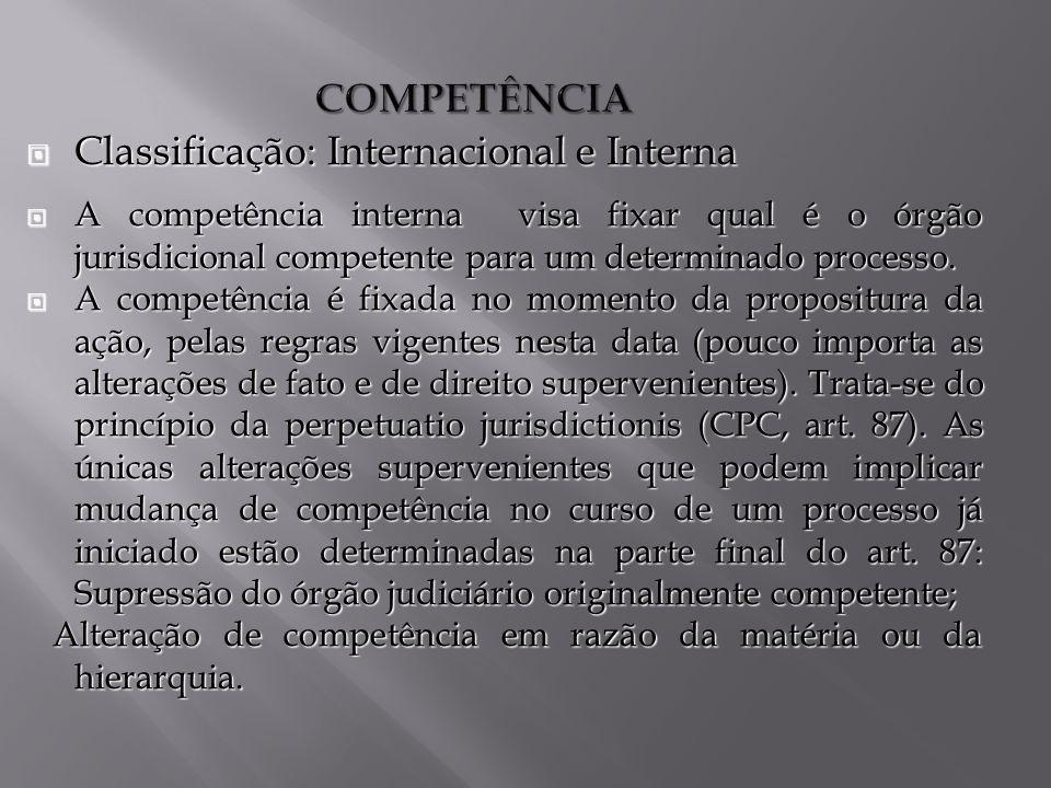 Classificação: Internacional e Interna
