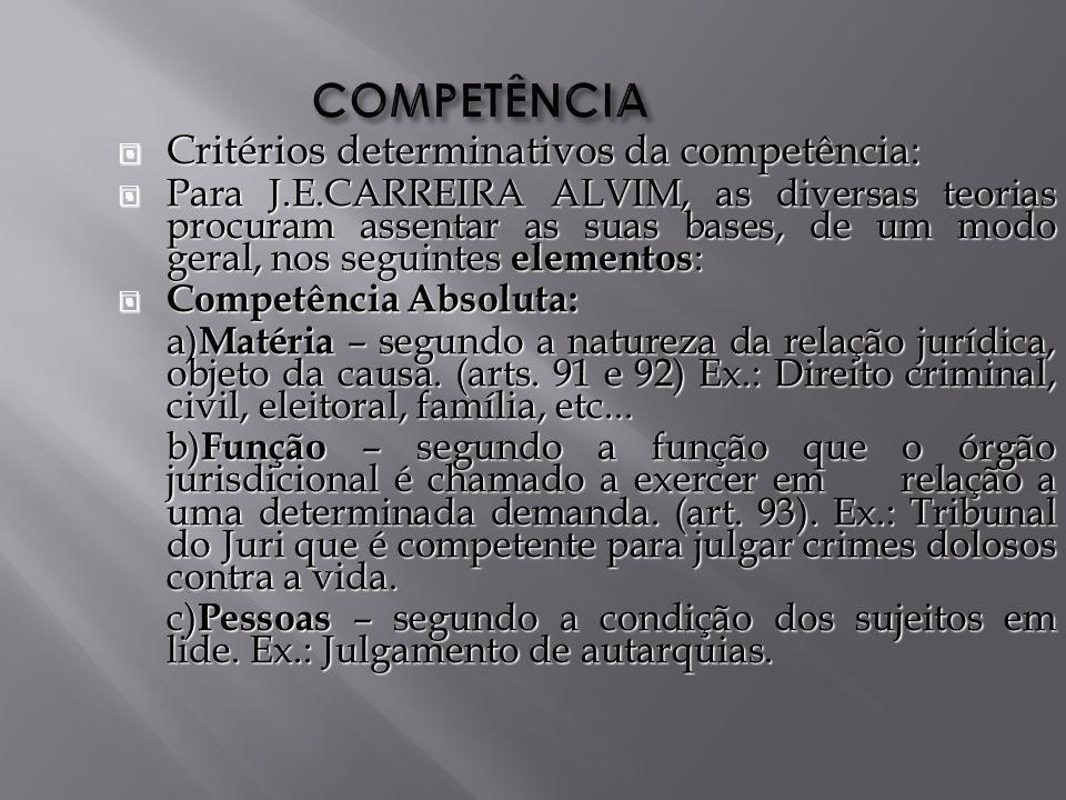 COMPETÊNCIA Critérios determinativos da competência: