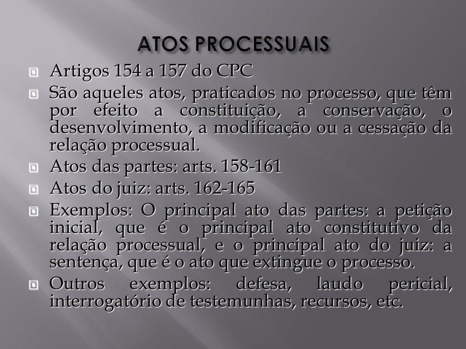 ATOS PROCESSUAIS Artigos 154 a 157 do CPC