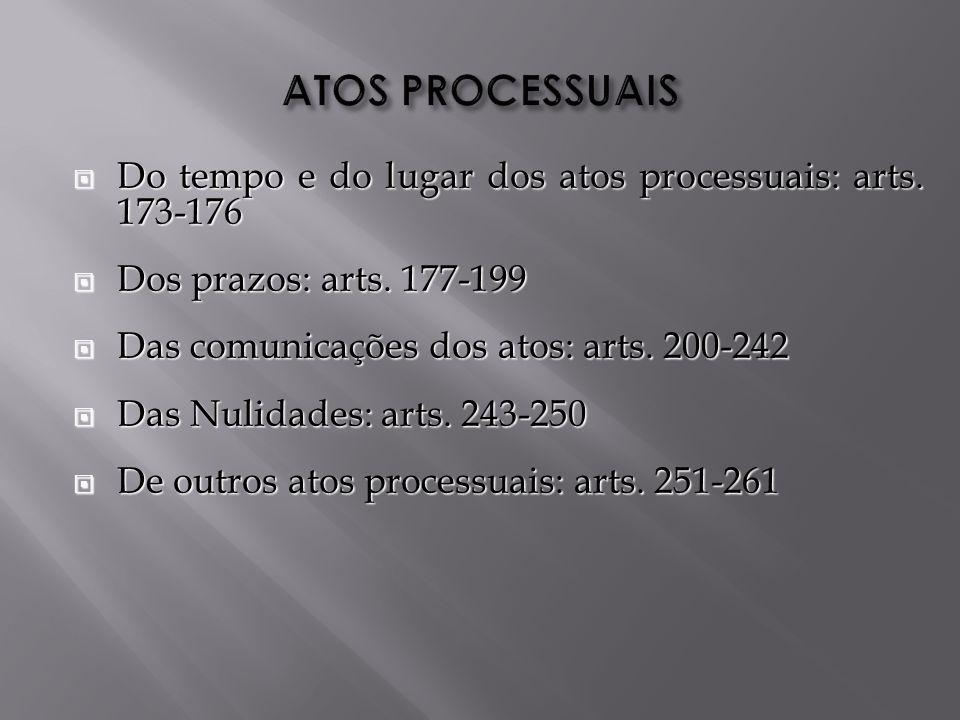 ATOS PROCESSUAIS Do tempo e do lugar dos atos processuais: arts. 173-176. Dos prazos: arts. 177-199.