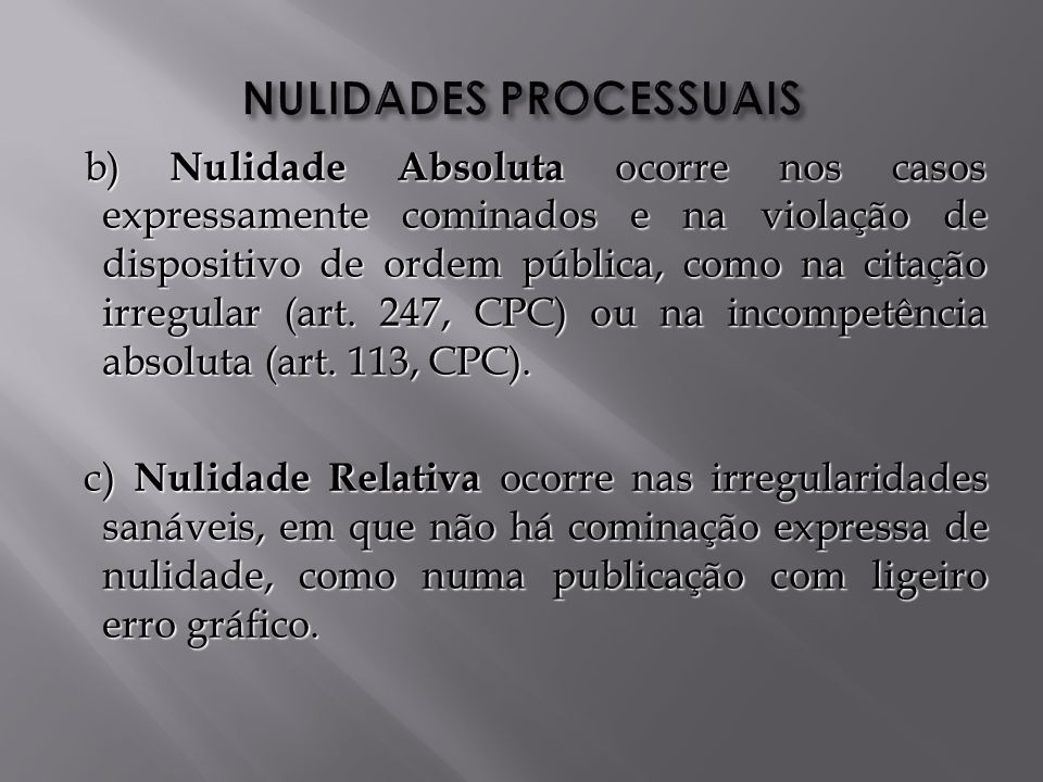 NULIDADES PROCESSUAIS
