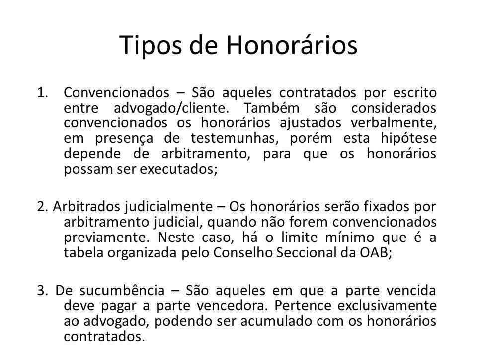 Tipos de Honorários