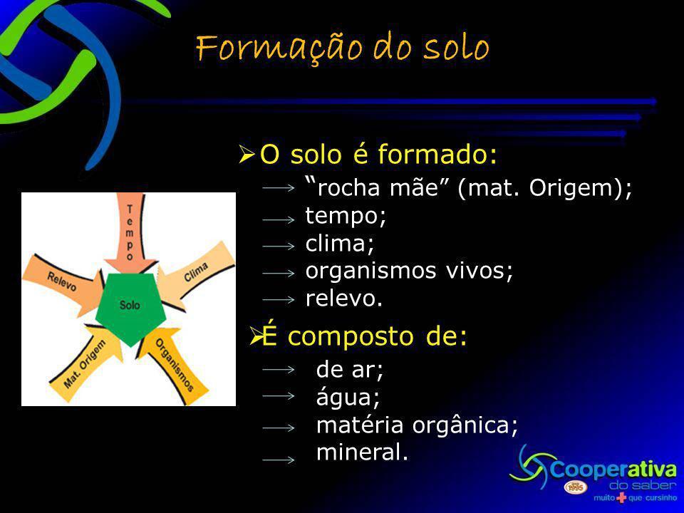 Formação do solo O solo é formado: rocha mãe (mat. Origem);