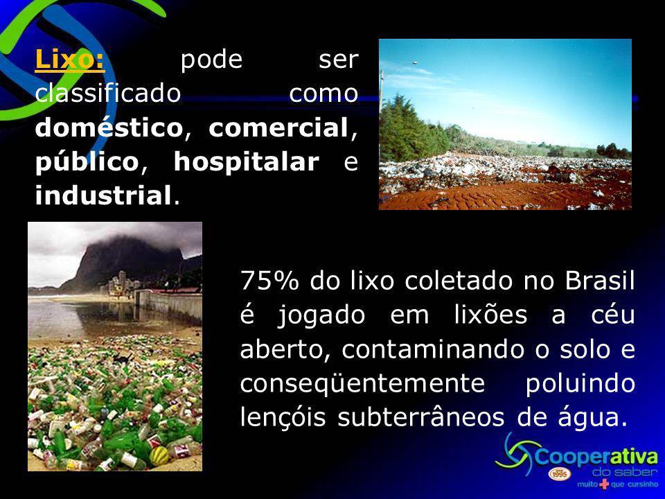 Lixo: pode ser classificado como doméstico, comercial, público, hospitalar e industrial.
