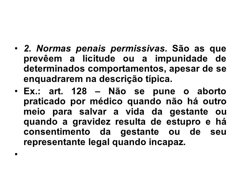 2. Normas penais permissivas