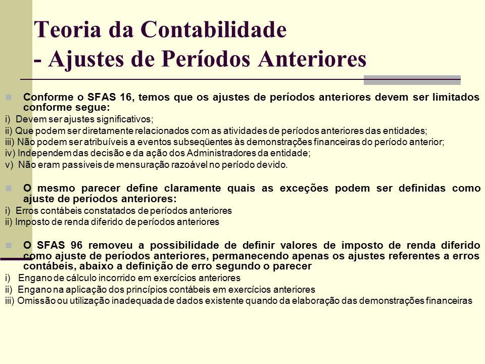 Teoria da Contabilidade - Ajustes de Períodos Anteriores