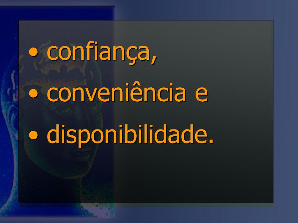 • confiança, • conveniência e • disponibilidade.