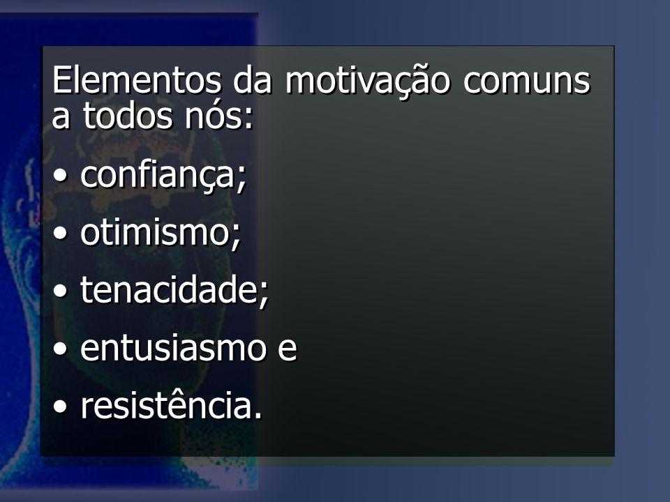 Elementos da motivação comuns a todos nós: