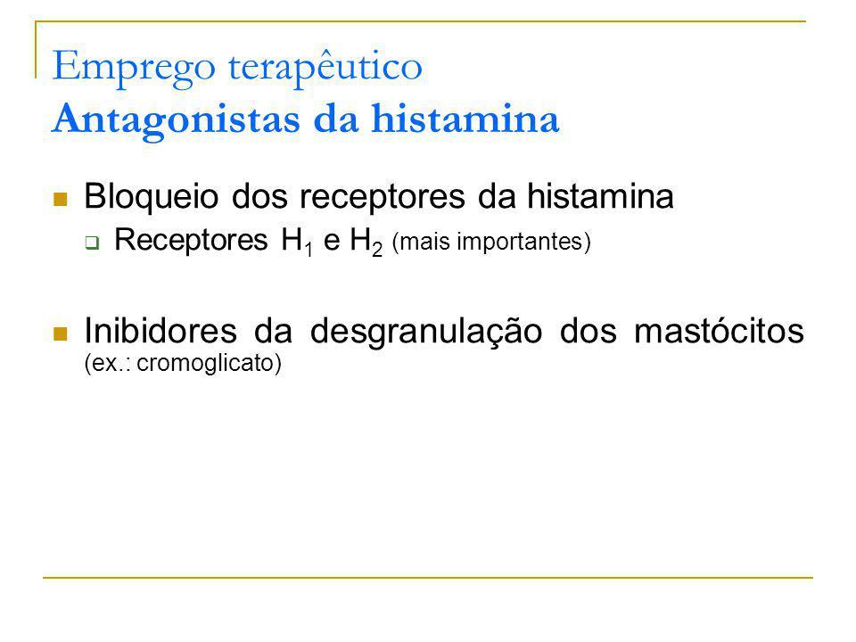 Emprego terapêutico Antagonistas da histamina