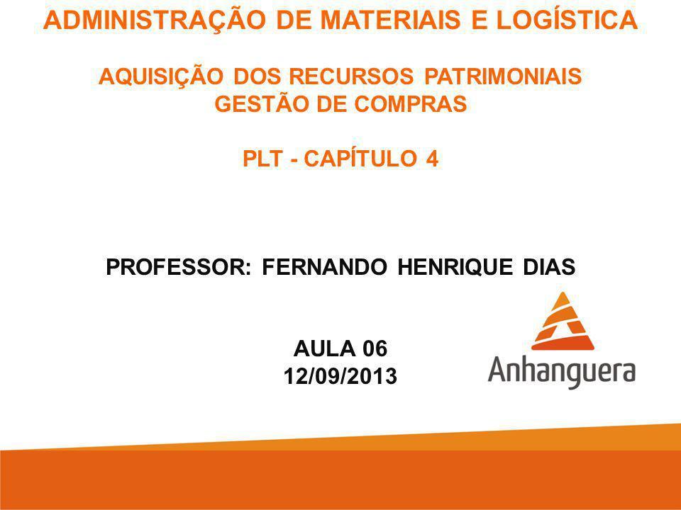 AQUISIÇÃO DOS RECURSOS PATRIMONIAIS PROFESSOR: FERNANDO HENRIQUE DIAS