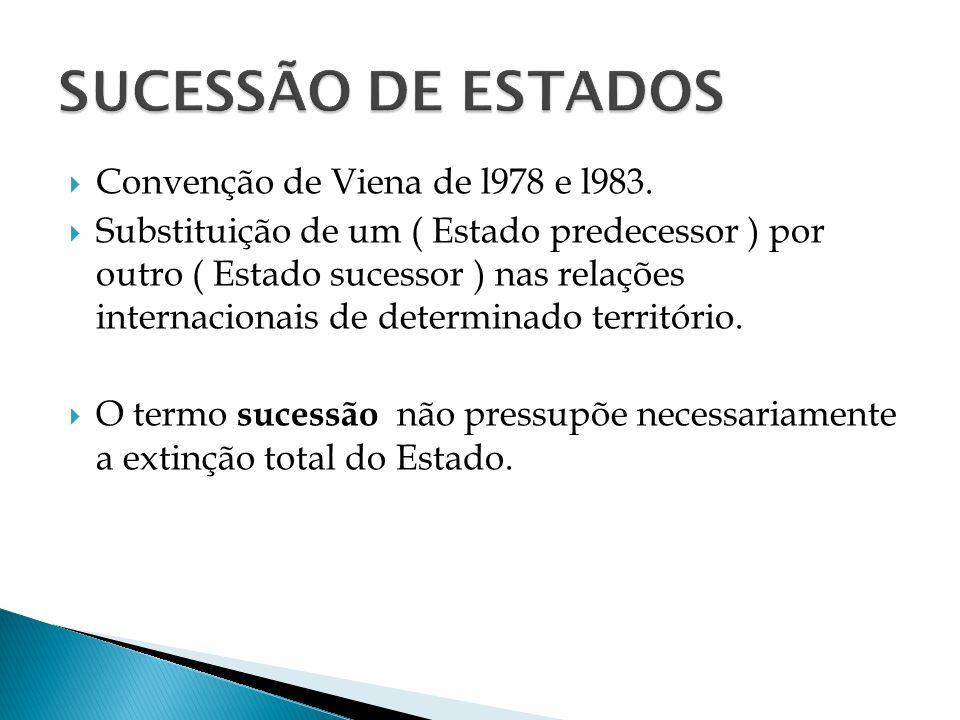 SUCESSÃO DE ESTADOS Convenção de Viena de l978 e l983.