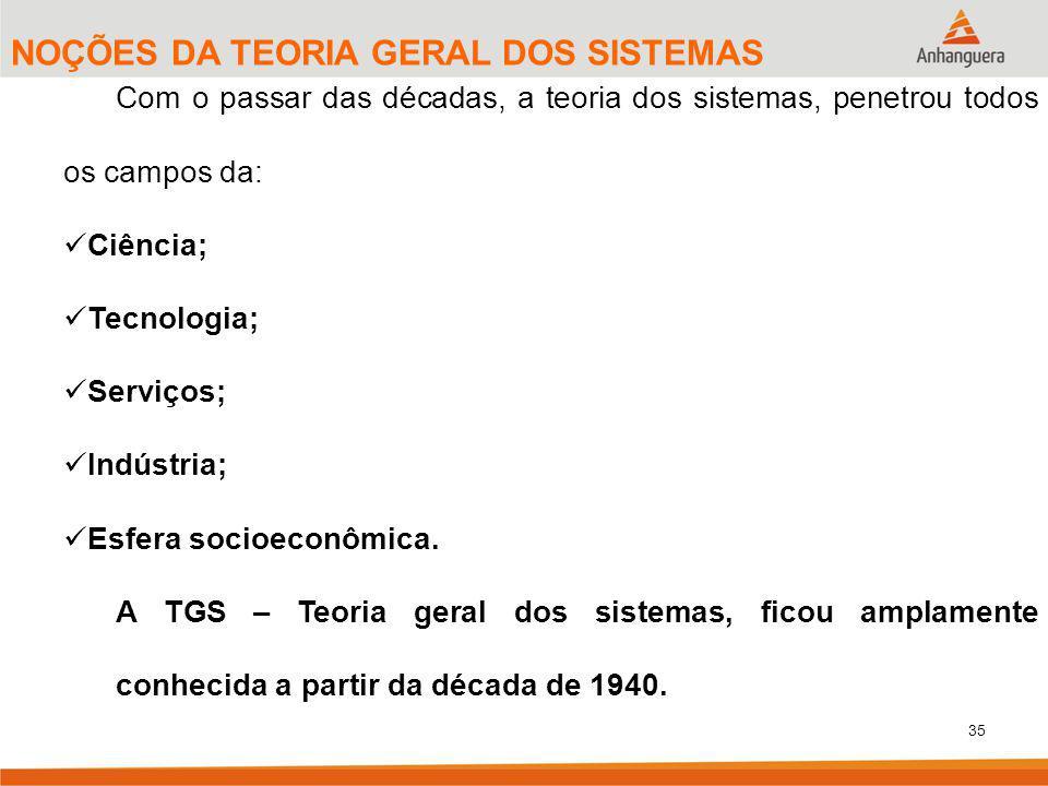 NOÇÕES DA TEORIA GERAL DOS SISTEMAS