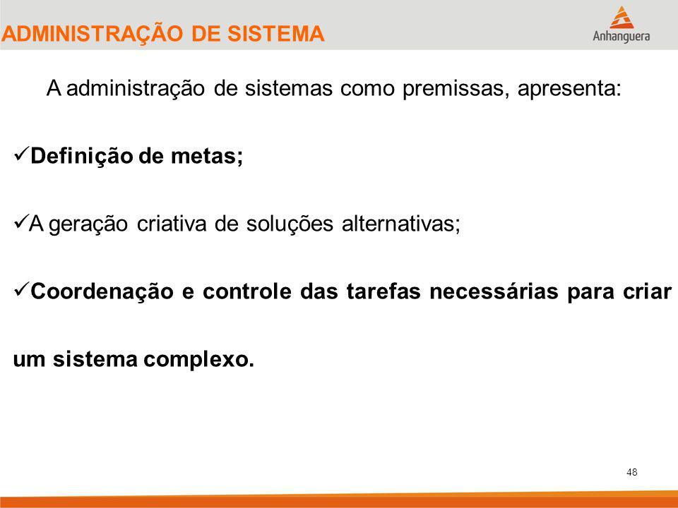 A administração de sistemas como premissas, apresenta: