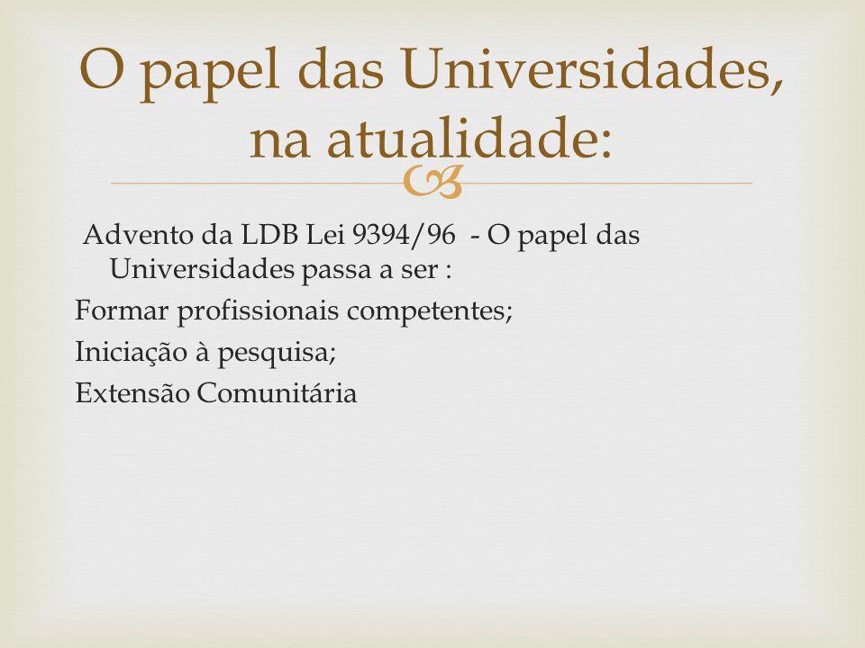 O papel das Universidades, na atualidade: