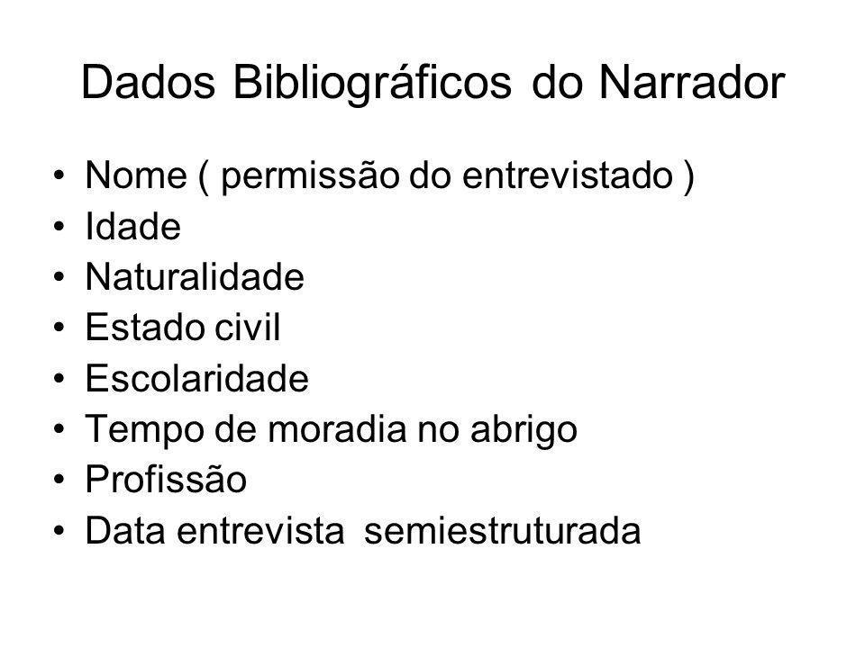 Dados Bibliográficos do Narrador