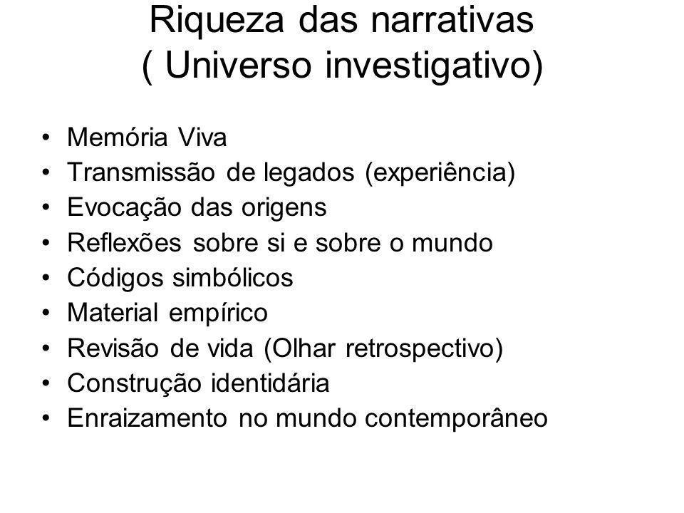 Riqueza das narrativas ( Universo investigativo)
