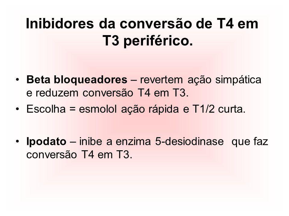 Inibidores da conversão de T4 em T3 periférico.