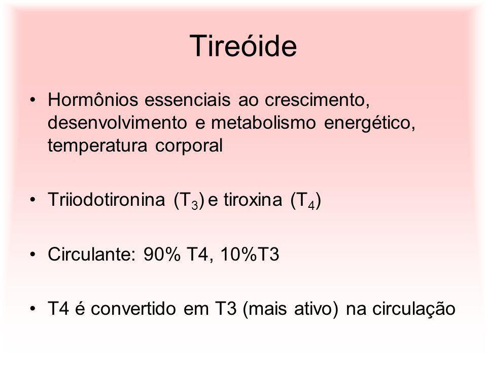 Tireóide Hormônios essenciais ao crescimento, desenvolvimento e metabolismo energético, temperatura corporal.
