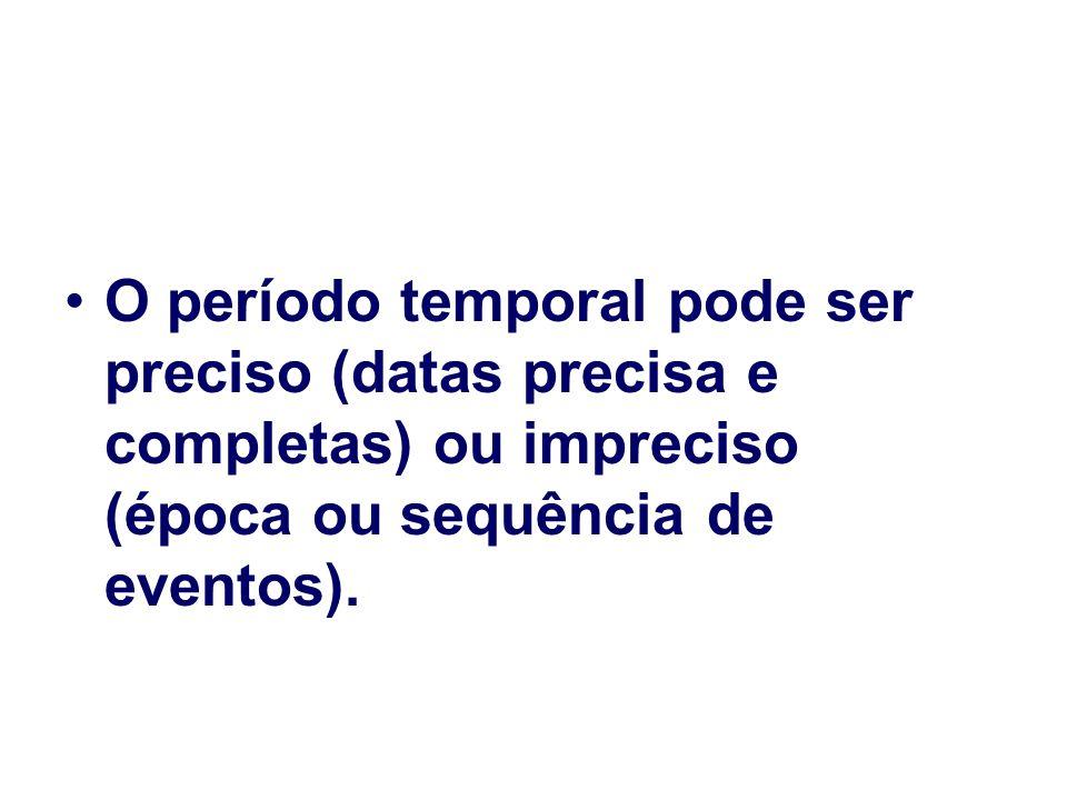 O período temporal pode ser preciso (datas precisa e completas) ou impreciso (época ou sequência de eventos).