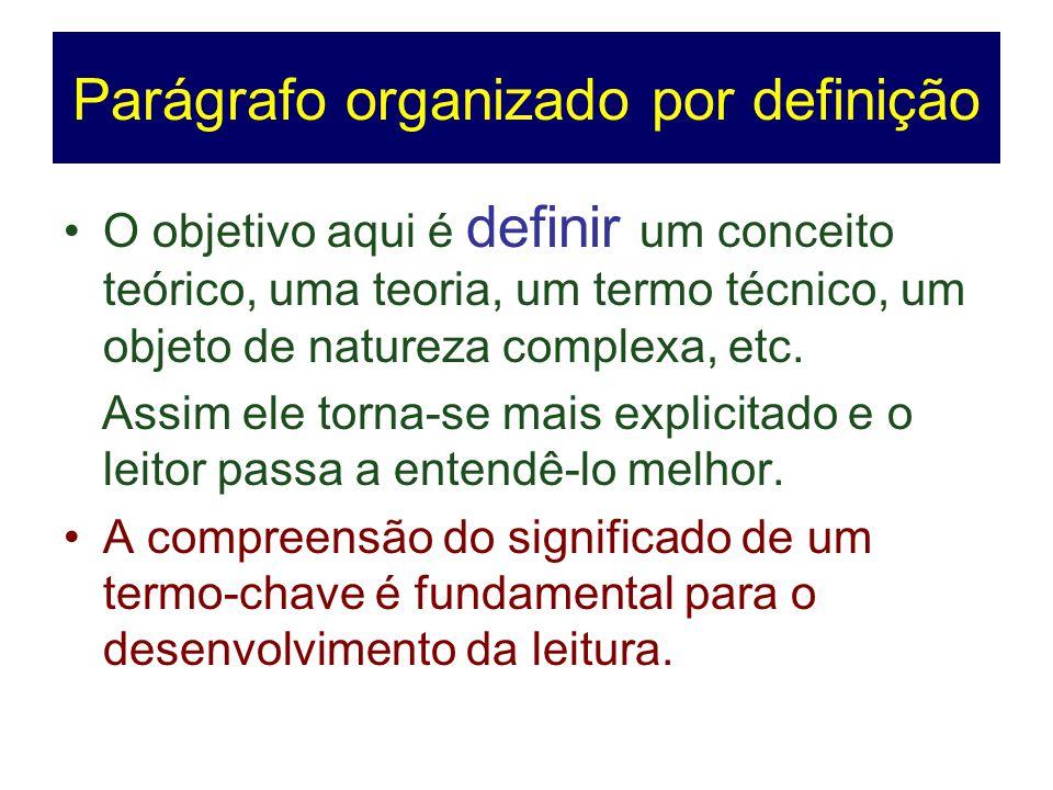 Parágrafo organizado por definição