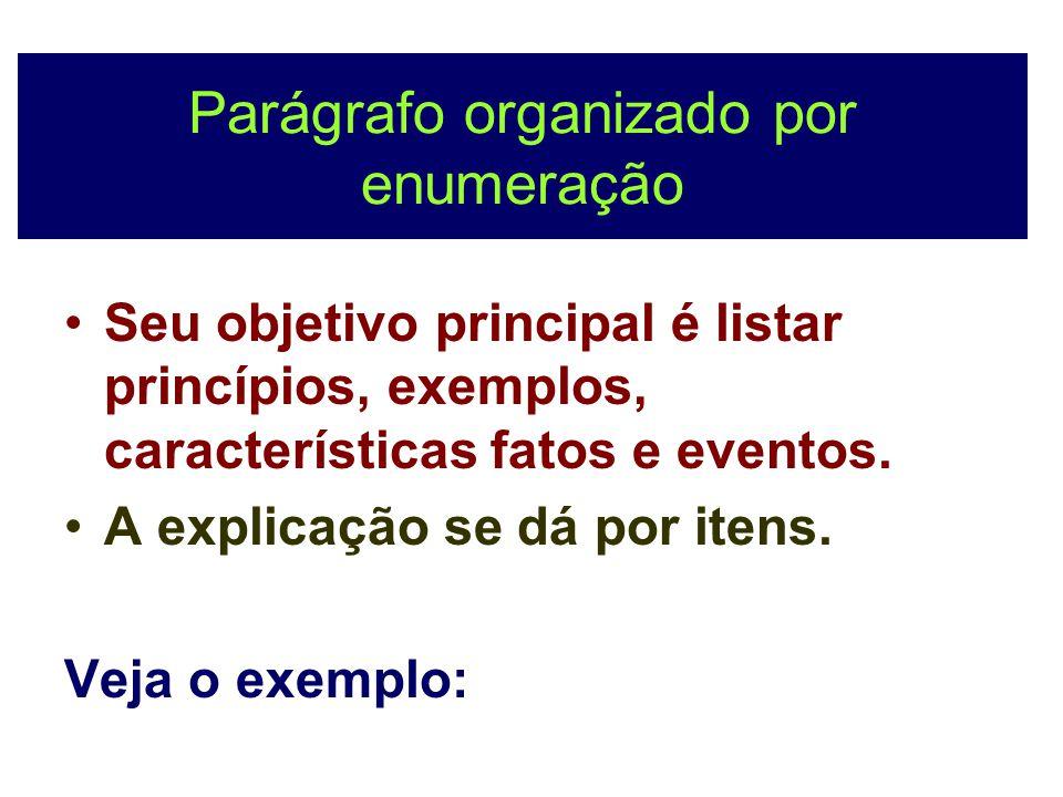 Parágrafo organizado por enumeração
