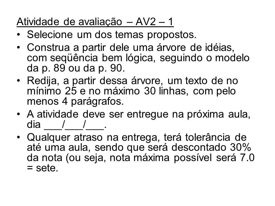 Atividade de avaliação – AV2 – 1