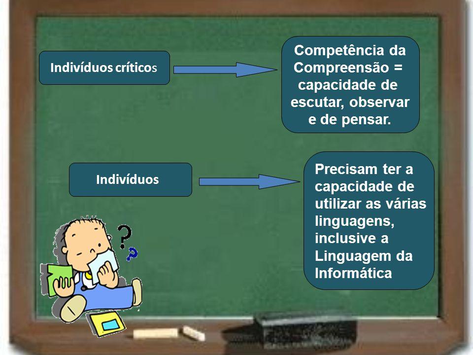 Competência da Compreensão = capacidade de. escutar, observar. e de pensar. Indivíduos críticos.