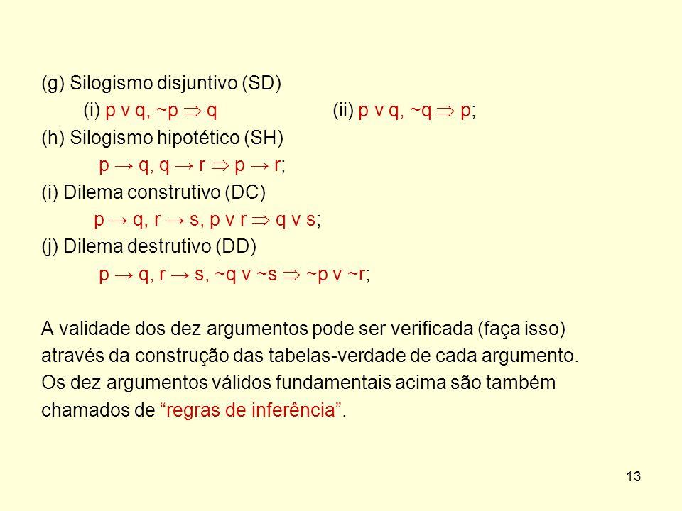 (g) Silogismo disjuntivo (SD)