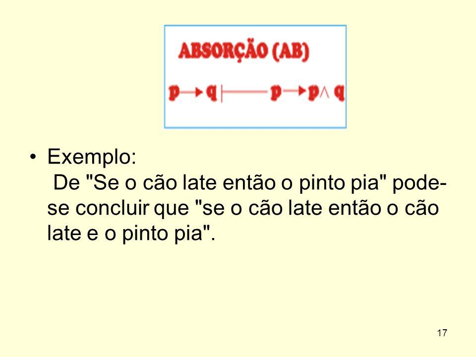 Exemplo: De Se o cão late então o pinto pia pode-se concluir que se o cão late então o cão late e o pinto pia .
