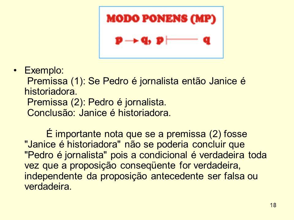 Exemplo: Premissa (1): Se Pedro é jornalista então Janice é historiadora.