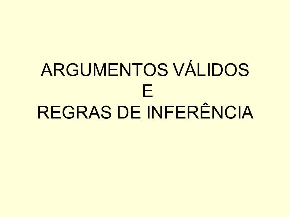 ARGUMENTOS VÁLIDOS E REGRAS DE INFERÊNCIA