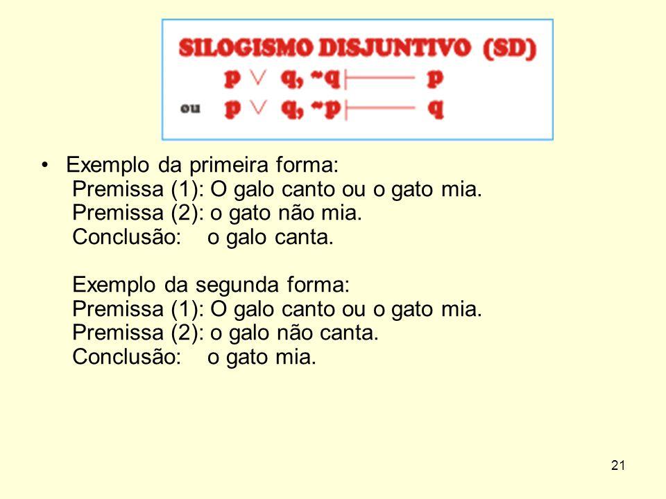 Exemplo da primeira forma: Premissa (1): O galo canto ou o gato mia