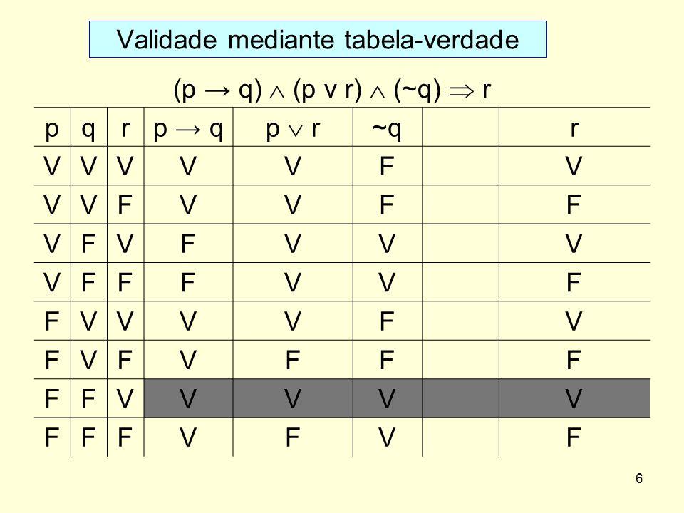 Validade mediante tabela-verdade