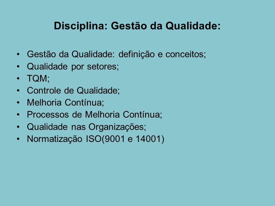 Disciplina: Gestão da Qualidade: