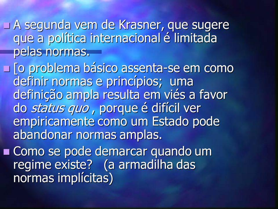 A segunda vem de Krasner, que sugere que a política internacional é limitada pelas normas.