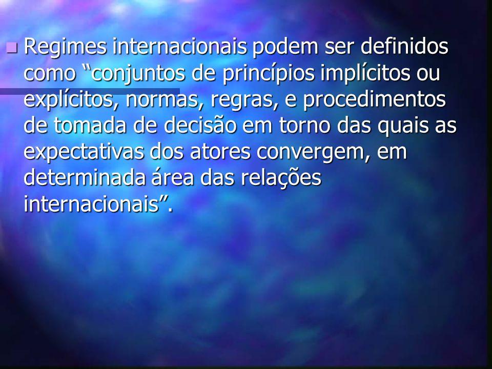 Regimes internacionais podem ser definidos como conjuntos de princípios implícitos ou explícitos, normas, regras, e procedimentos de tomada de decisão em torno das quais as expectativas dos atores convergem, em determinada área das relações internacionais .