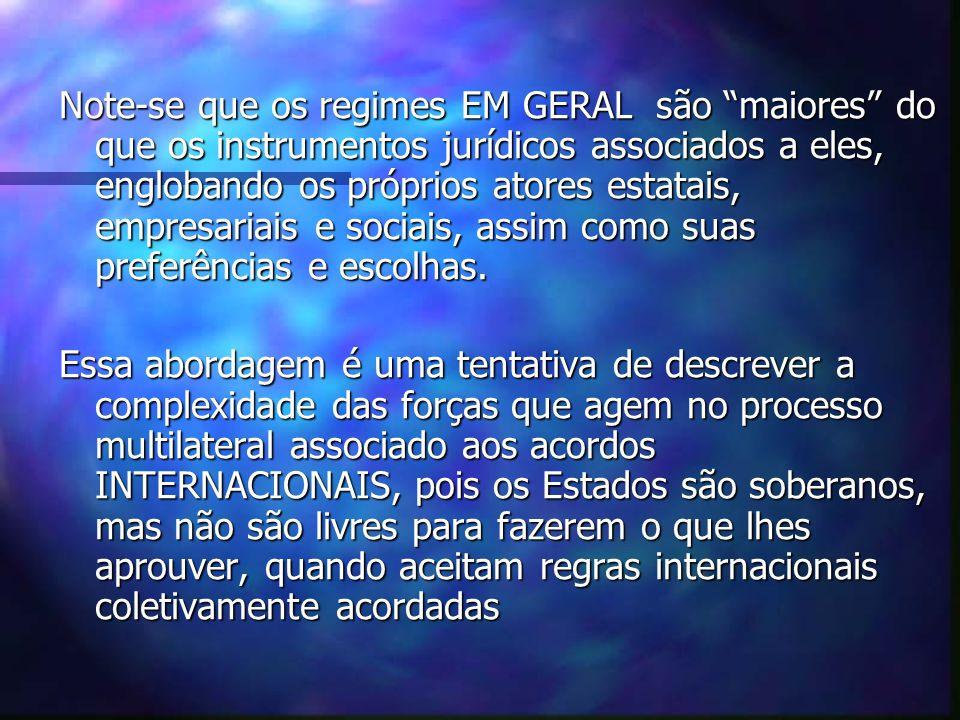 Note-se que os regimes EM GERAL são maiores do que os instrumentos jurídicos associados a eles, englobando os próprios atores estatais, empresariais e sociais, assim como suas preferências e escolhas.