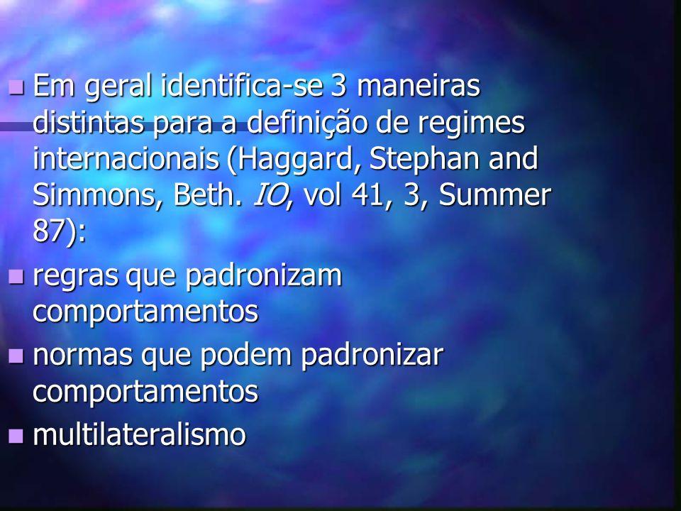Em geral identifica-se 3 maneiras distintas para a definição de regimes internacionais (Haggard, Stephan and Simmons, Beth. IO, vol 41, 3, Summer 87):