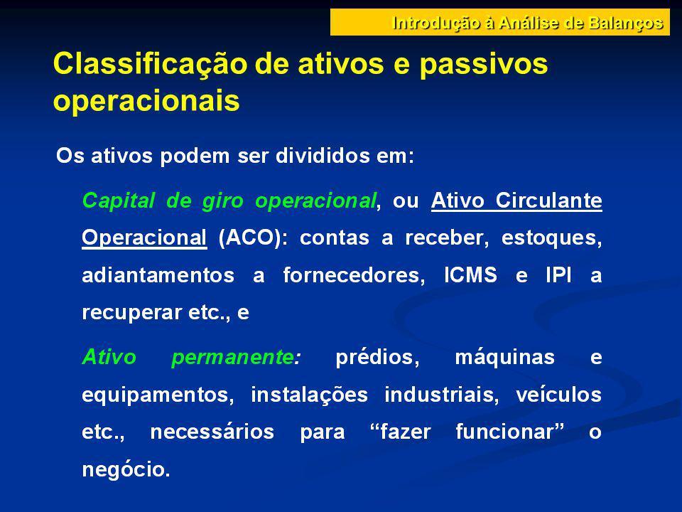 Classificação de ativos e passivos operacionais