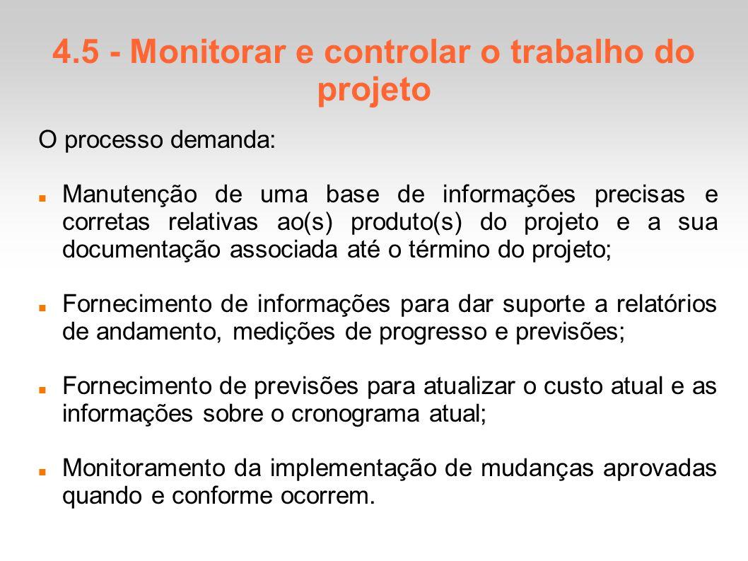 4.5 - Monitorar e controlar o trabalho do projeto