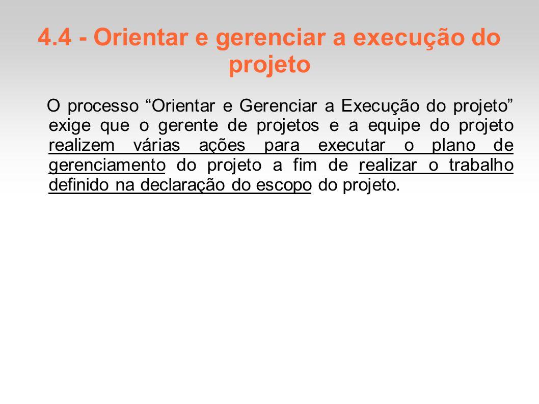 4.4 - Orientar e gerenciar a execução do projeto