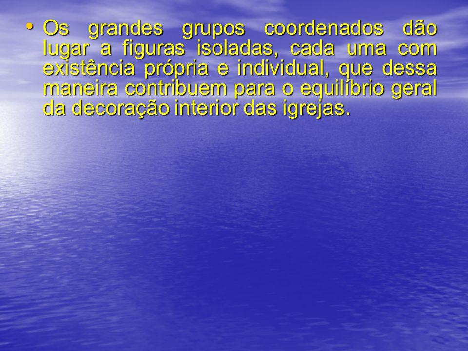 Os grandes grupos coordenados dão lugar a figuras isoladas, cada uma com existência própria e individual, que dessa maneira contribuem para o equilíbrio geral da decoração interior das igrejas.