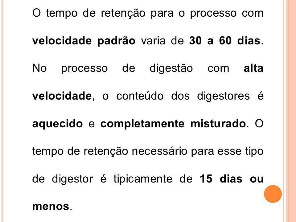 O tempo de retenção para o processo com velocidade padrão varia de 30 a 60 dias.
