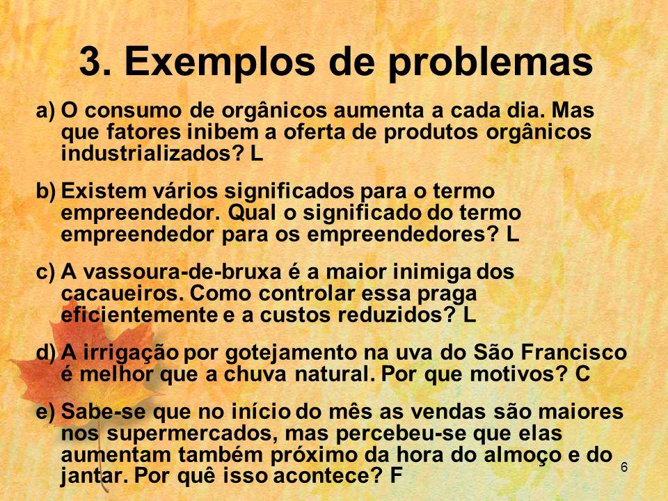 3. Exemplos de problemas O consumo de orgânicos aumenta a cada dia. Mas que fatores inibem a oferta de produtos orgânicos industrializados L.