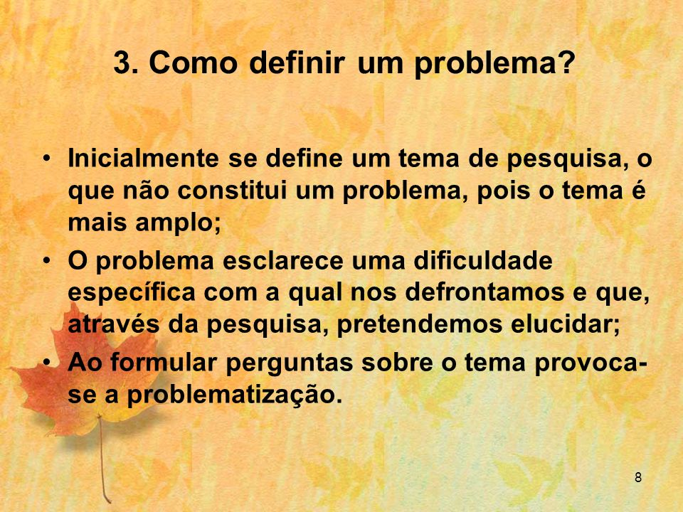3. Como definir um problema