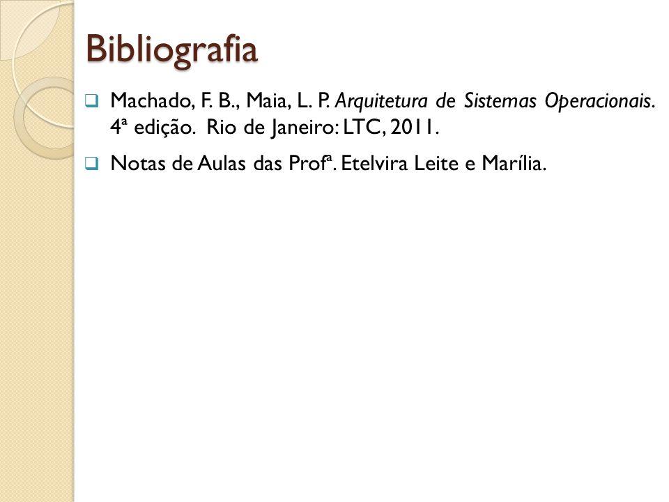 Bibliografia Machado, F. B., Maia, L. P. Arquitetura de Sistemas Operacionais. 4ª edição. Rio de Janeiro: LTC, 2011.