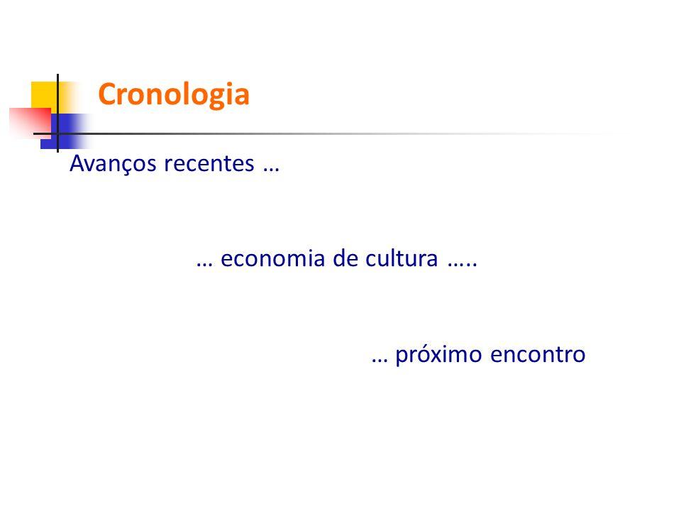 Cronologia Avanços recentes … … economia de cultura …..