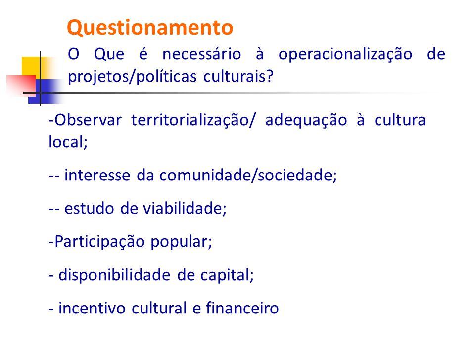 Questionamento O Que é necessário à operacionalização de projetos/políticas culturais Observar territorialização/ adequação à cultura local;